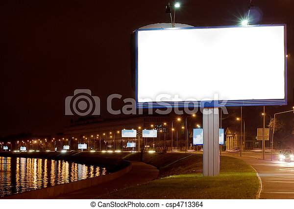 The big white bill-board on night quay - csp4713364