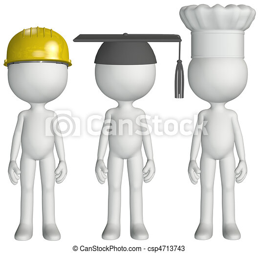 Construction chef cook student graduate occupation job hats - csp4713743