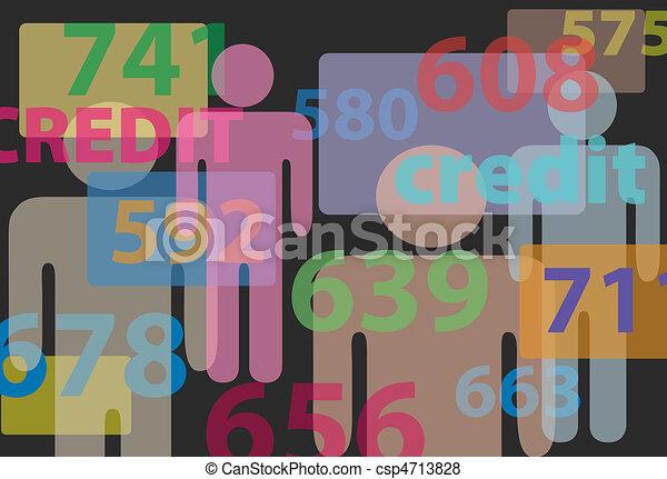 People credit bureau score report card numbers - csp4713828
