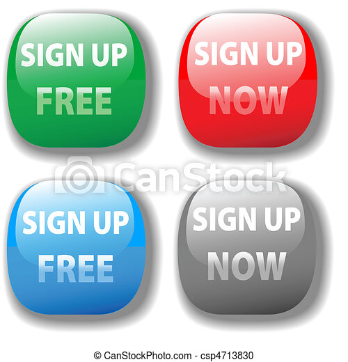 Sign up now free website icon button set - csp4713830