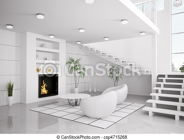 Plaatjes van levend kamer render moderne interieur witte 3d csp4715268 zoek naar - Witte muur kamer ...