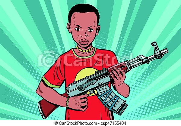 African boy with AKM automatic weapons - csp47155404