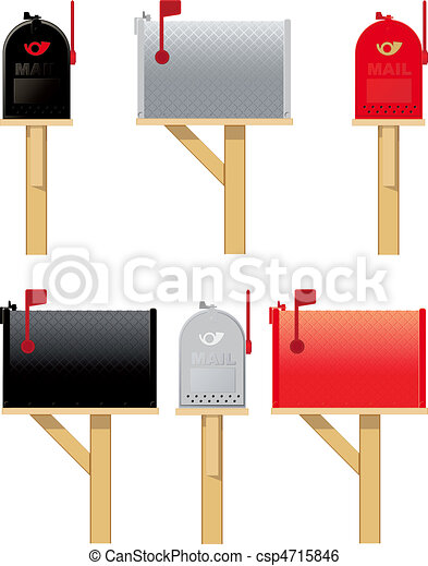 Outdoor mailboxes in three different colors - csp4715846
