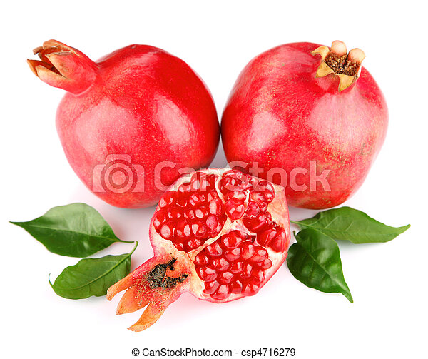 pomegranate fresh fruits with green leaves - csp4716279
