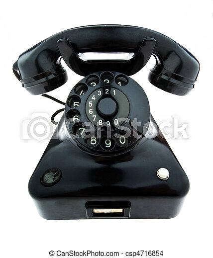 Antique, old retro phone. Fixed phone - csp4716854
