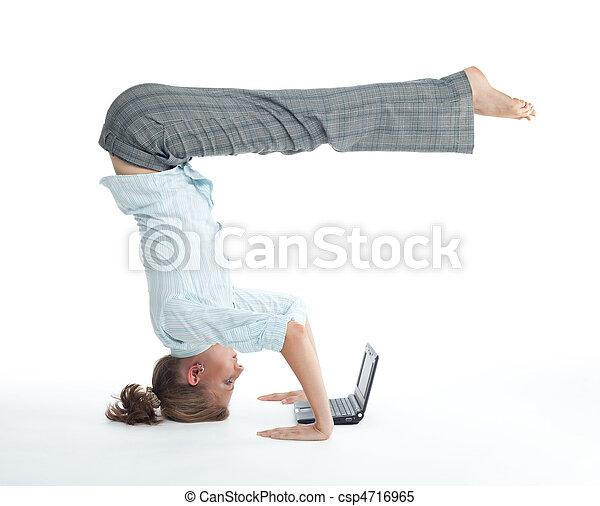 Woman browsing  in unusual pose - csp4716965