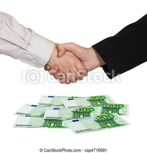 Handshake and money Euro - csp4716991