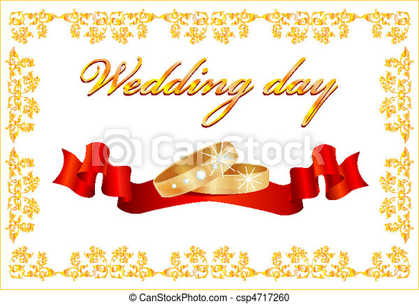 Vector Clipart of wedding card with rings and red ribbon ...