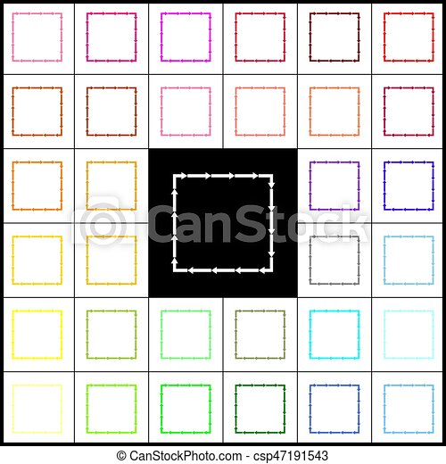Arrow on a square shape. Vector. Felt-pen 33 colorful icons at white and black backgrounds. Colorfull. - csp47191543