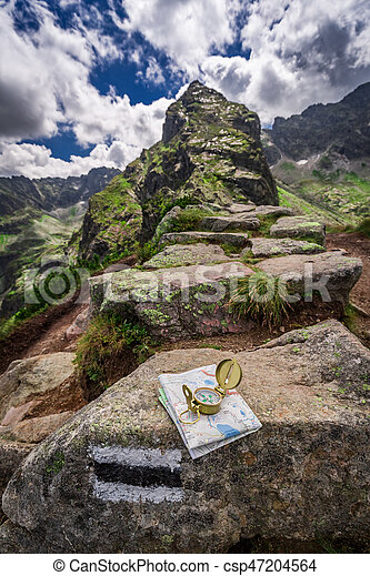 Orientation in mountains with map and compass, Poland, Europe