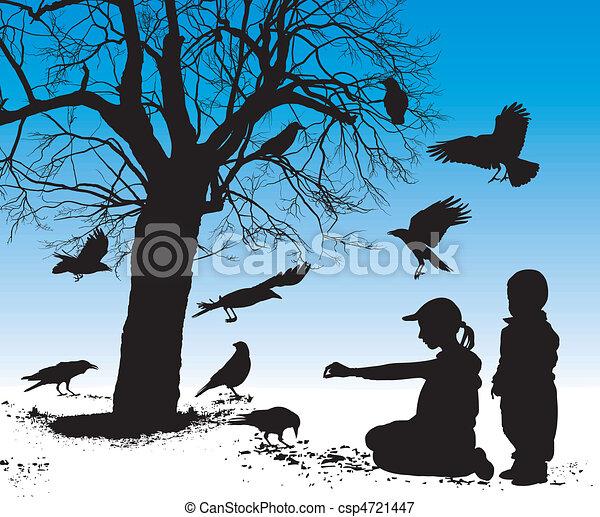 Children fed birds - csp4721447