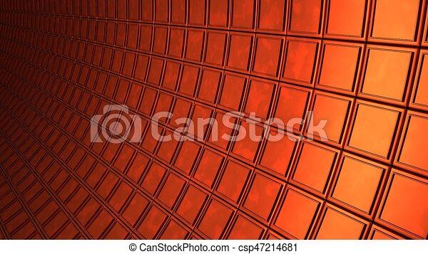 copper cubes wall background 3d render illustration - csp47214681