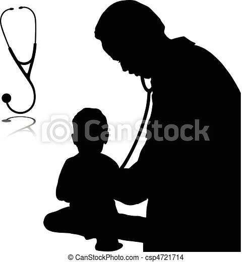 doctor with baby vector silhouettes - csp4721714