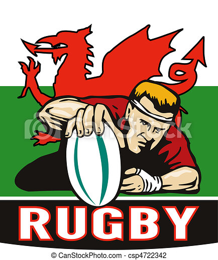 Rugby player scoring try wales flag  - csp4722342