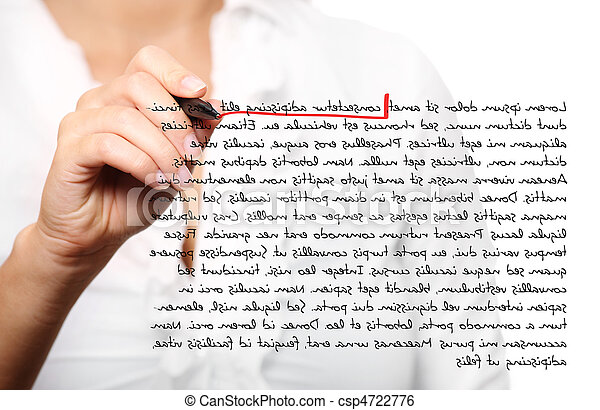 Female hand correcting a composition - csp4722776