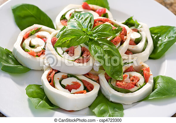 Mozzarella Tomato Basil Roll ups - csp4723300