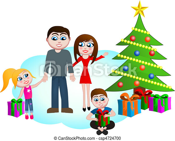 vektor clipart von weihnachten familie morgen dieser. Black Bedroom Furniture Sets. Home Design Ideas