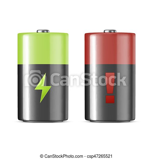Vector realistic alkaline charging batteries icon set. Design template. Closeup isolated on white background. - csp47265521