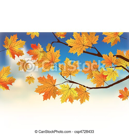 Fall leaves in front of blue sky with clouds. - csp4728433