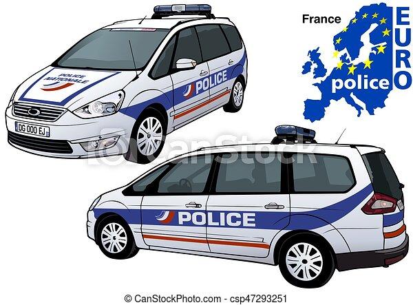 vecteur clipart de voiture police france france police car colored csp47293251. Black Bedroom Furniture Sets. Home Design Ideas