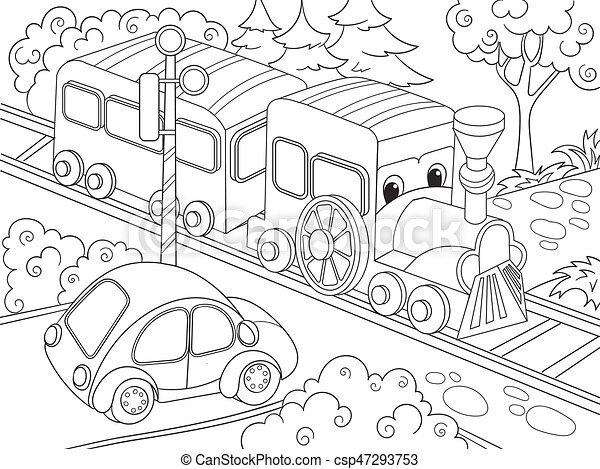 Cartoon train train and car coloring book for children cartoon vector illustration - csp47293753