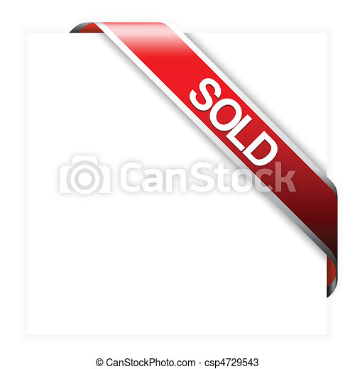 Red corner ribbon for sold items - csp4729543