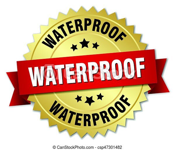 waterproof round isolated gold badge - csp47301482