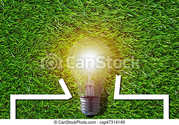Think outside the box concept, light bulb and frame on green grass background, idea and inspiration