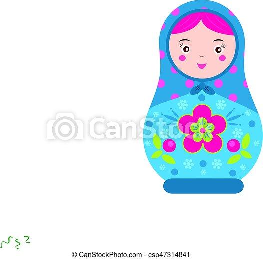 Matryoshka. Traditional russian nesting doll. Smiling Matreshka icon. Vector illustration - csp47314841