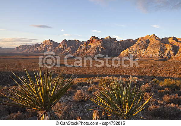 Warm dawn light at Red Rock National Conservation Area. - csp4732815