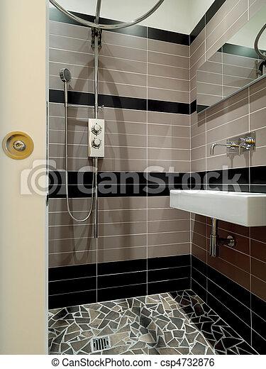 stock beeld van kleine moderne badkamer douche csp4732876 zoek naar fotografie foto 39 s. Black Bedroom Furniture Sets. Home Design Ideas