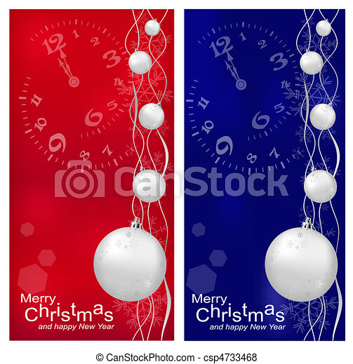 Vector Christmas, New Year's background with ball (red and darck blue)  - csp4733468
