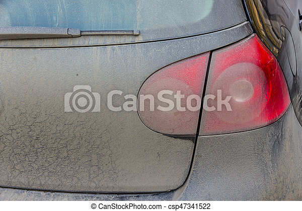 spotted tail light on cars, a symbol of dirt, risk of accidents, congestion, poor care