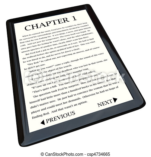 E-Book Reader with Novel on Screen - csp4734665