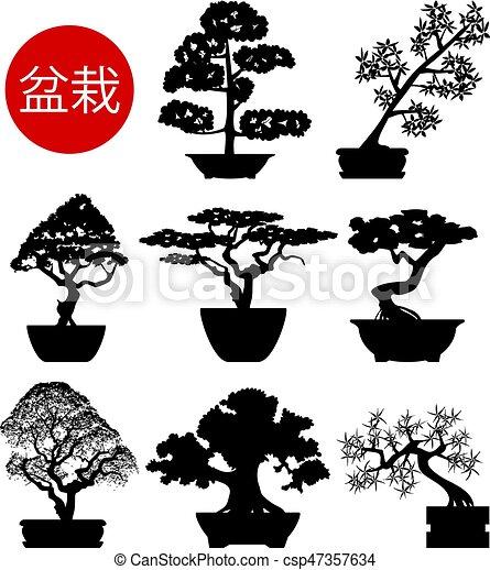Vecteurs de bonsai ensemble arbres vecteur noir blanc - Dessin bonzai ...