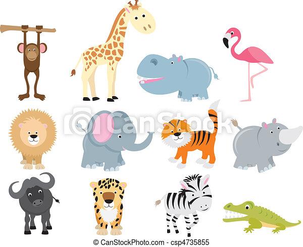 cute wild safari animal cartoon set - csp4735855