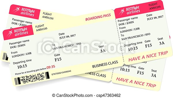 Two boarding pass tickets - csp47363462