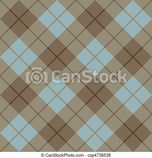 Bias Plaid in Blue, Taupe and Gold - csp4736538