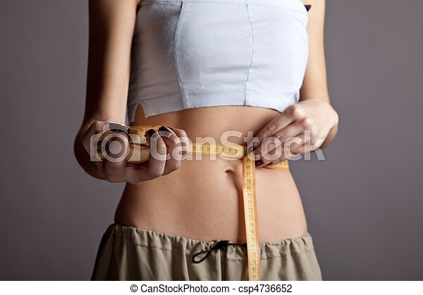Beautiful and strong women's abs with metre and burger. - csp4736652