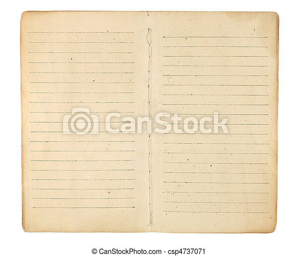 Vintage Memo Book Open to Blank Pages - csp4737071