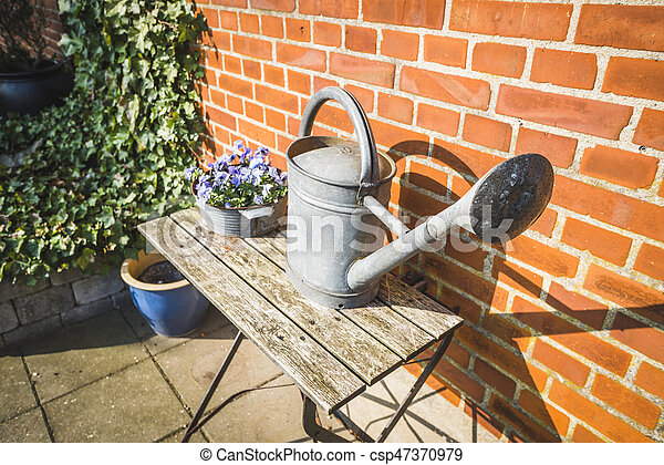 Water can and colorful flowers - csp47370979