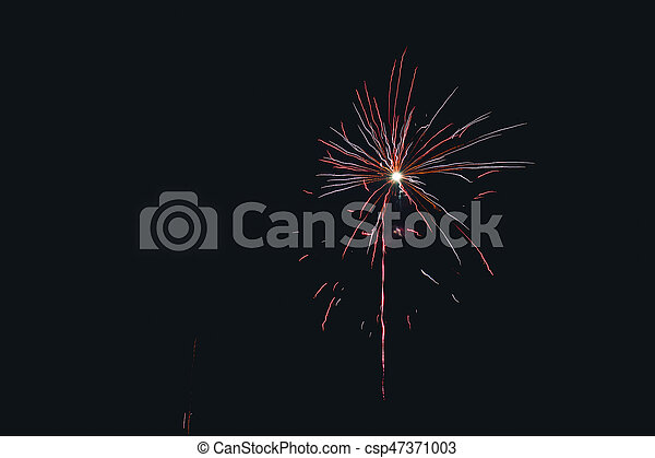 Fireworks exploding in the night sky - csp47371003