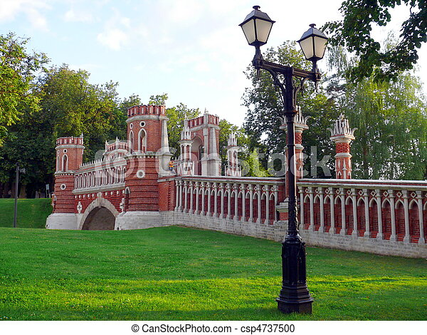 Red brick bridge in Tsaritsino, Moscow - csp4737500