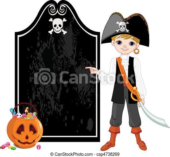 Halloween Pirate pointing - csp4738269