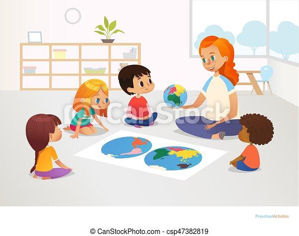 Kinder sitzen im kreis clipart  Vektor Clipart von postkarte, plakat, hauptsächlich, weibliche ...
