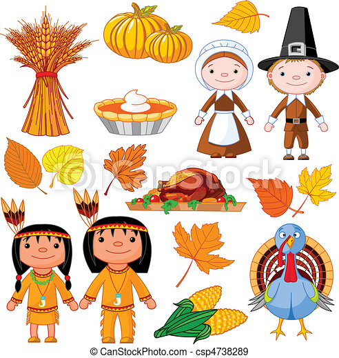 eps vectors of thanksgiving icon set illustrated set of Thanksgiving Indian Clip Art Pilgrim Clip Art