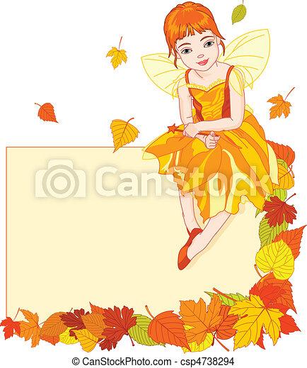 Autumn fairy place card - csp4738294