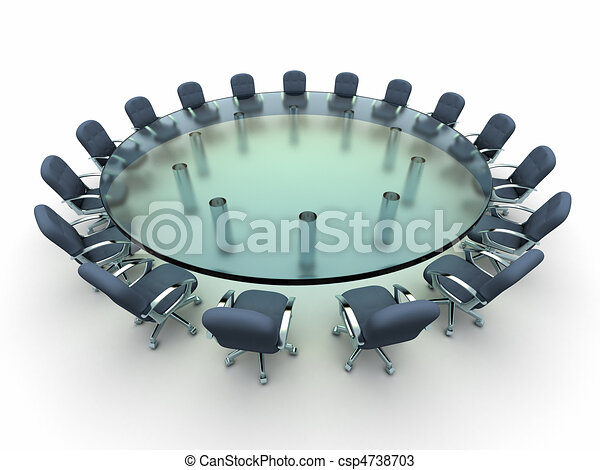 Glass conference table with busines - csp4738703