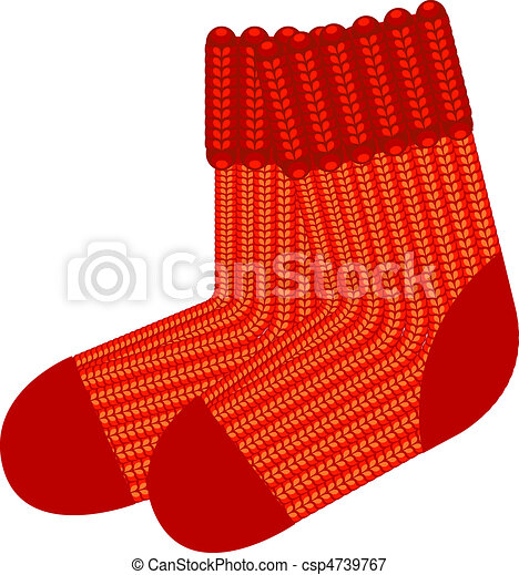 Red knit wool socks - csp4739767