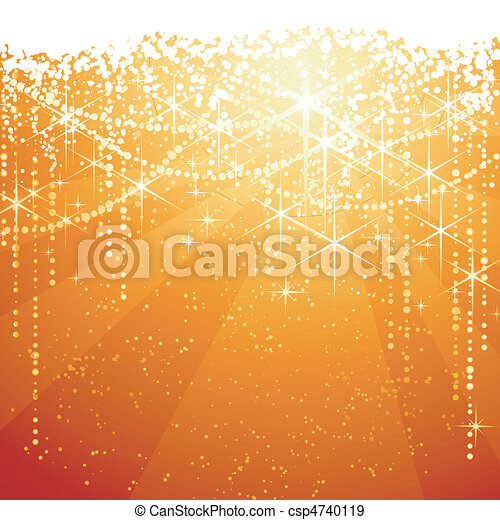 Red golden background with sparkling stars for festive occasions. Great as Christmas or Neaw years background. - csp4740119
